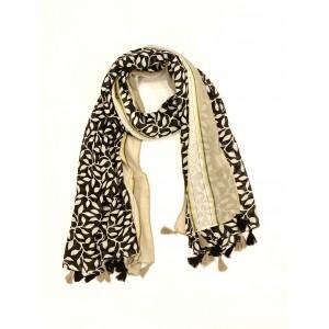 Echarpe noire et beige longue motifs feuillage